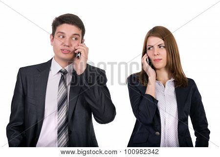 Young people talking on the phones