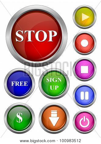 isolated vector glossy web button. Beautiful internet button.Empty on white background. With sign st