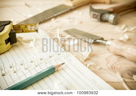 Carpenter Tools On Wood Table.
