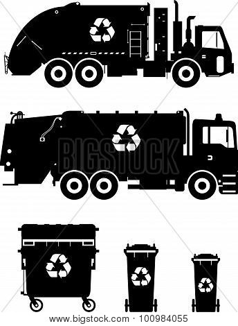 Set Of Different Silhouettes Garbage Trucks And Dumpsters. Vector Illustration.