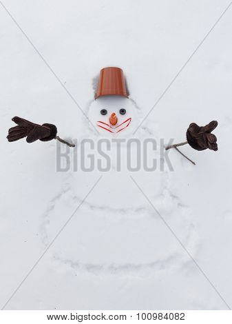 New Year Snowman Instead Of Hands With Gloves