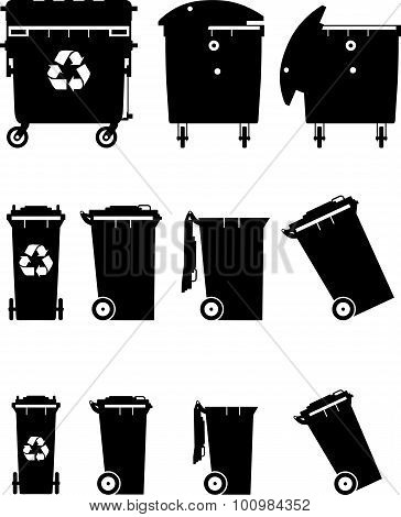 Set Of Different Silhouettes Dumpsters. Vector Illustration.