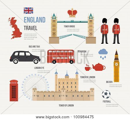 London, United Kingdom flat icons design travel concept. London travel. Historical and modern buildi