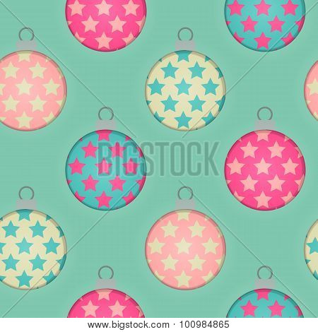 3d Effect Seamless Christmas Bauble Background