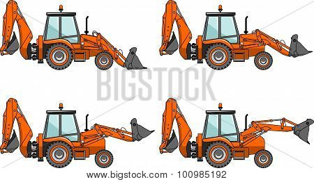 Backhoe loaders. Heavy construction machines. Vector illustration.
