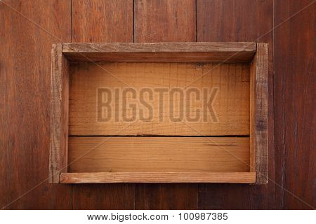 top view old wooden crate