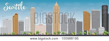 Seattle City Skyline with Grey Buildings and Blue Sky. Vector Illustration
