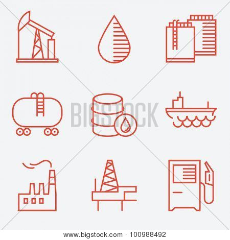 Oil and gas icons, thin line style, flat design