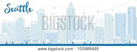 Outline Seattle City Skyline with Blue Buildings. Vector Illustration