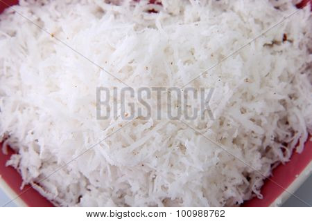 close up of the shredded coconut