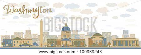 Washington DC city skyline. Vector illustration with cloud and sky