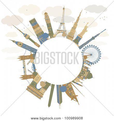 Travel concept around the world. Famous international landmarks. Vector illustration