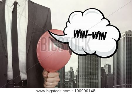 Win win text on speech bubble