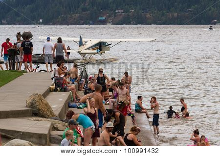 Amphibious Plane On The Lake