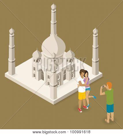 Vector flat isometric couple making selfie near the Taj Mahal