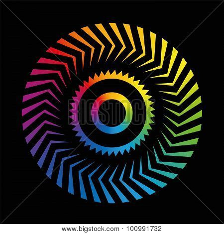 Circular Pattern Colorful Wheel Rainbow Black