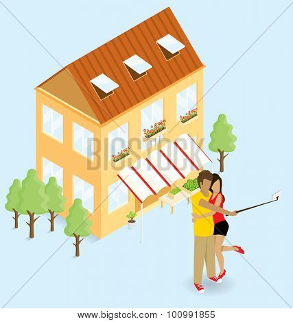 Vector flat isometric couple making selfie near the vegetable shop