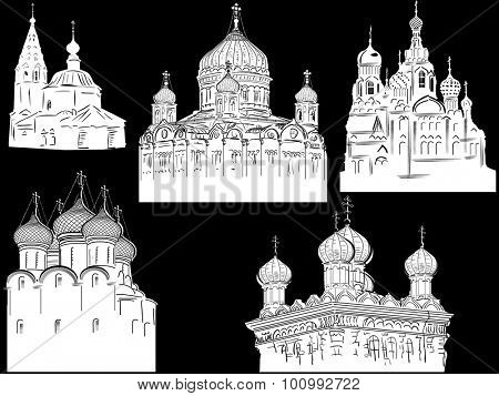 illustration with orthodox churches sketch on black background