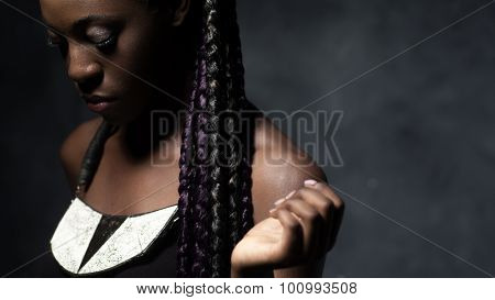 Beautiful Black Woman With Multi-colored Braids.