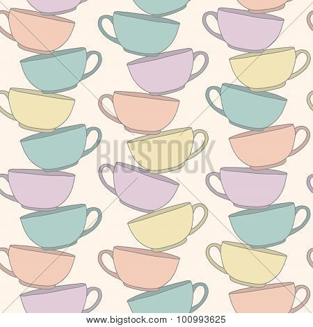 Stack Of Cups. Vectical composition. Seamless pattern.