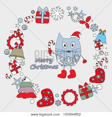 Stock Vector Winter Background With Cartoon Cat And, Tree And Gift. Card, Brochure, Poster Template