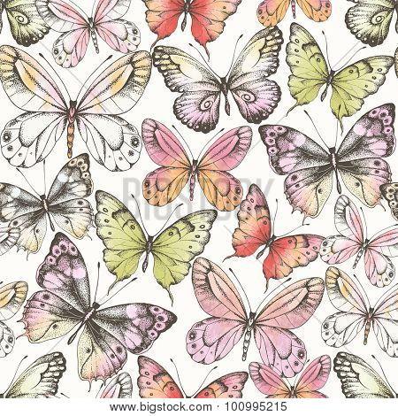 Seamless pattern of  randomly distributed butterflies with watercolor texture, vector illustration in vintage style.