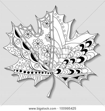 Stock Single Maple Leaf. Doodle Pattern