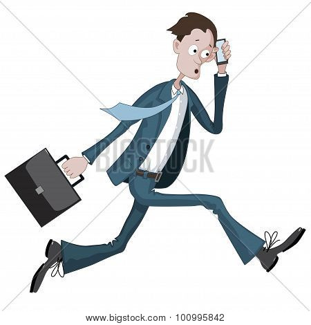 Cartoon Businessman Running Hurriedly With A Case And Phone In Hand