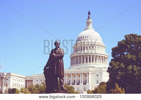 The United States Capitol Building Vintage In Washington Dc, Usa