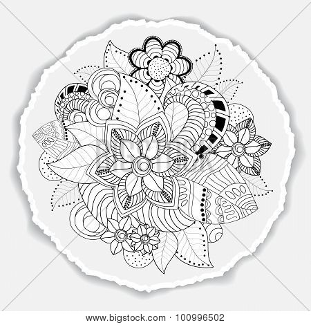 Greeting Card. Poster, Brochure Template With Oriental Flower. Doodl Pattern. Torn Paper