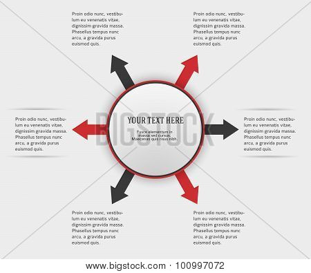 Infographics-report-template-circle-red-arrows