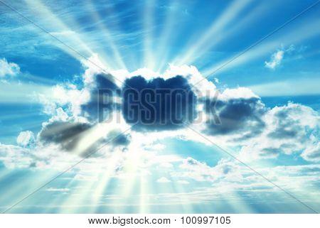 Beautiful Blue Sky With Sunbeams
