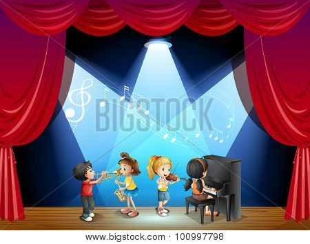 Children playing musical instrument on stage illustration
