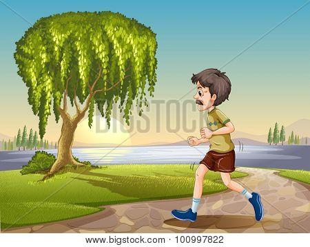Old man jogging in the park illustration