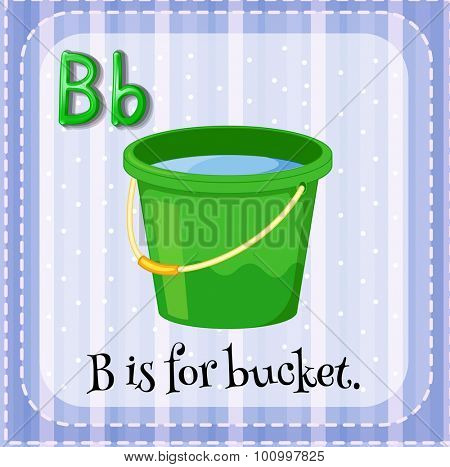 Flashcard letter B is for bucket illustration