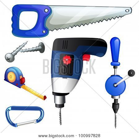Construction tools and equipments illustration