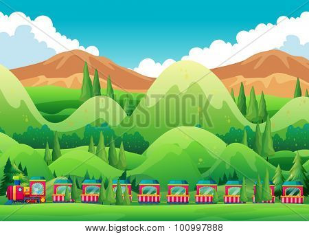 Train ride through the green field illustration