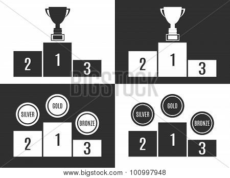 Trophy Cup On Prize Podium In Black And White