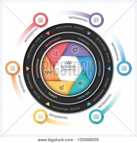 Business Infographic With Round Shutter Shape Diagram