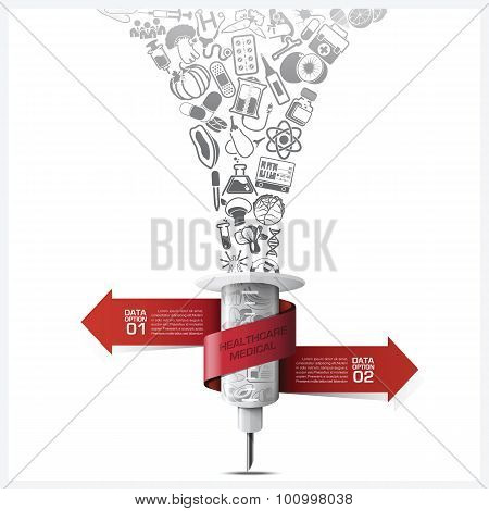 Healthcare And Medical Infographic With Bind Spiral Tag Tree Root Syringe Diagram