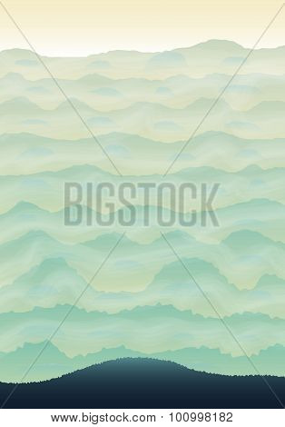 Vertical Background With Green Hills.
