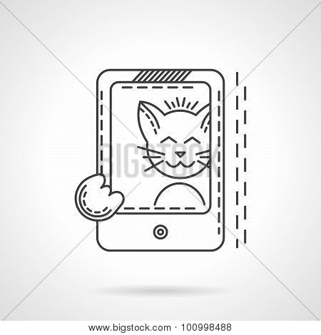 Cat selfie thin line style vector icon