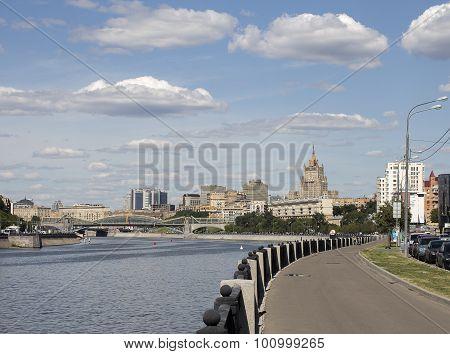 scenic cityscape. Savvinskaya Embankment in Moscow