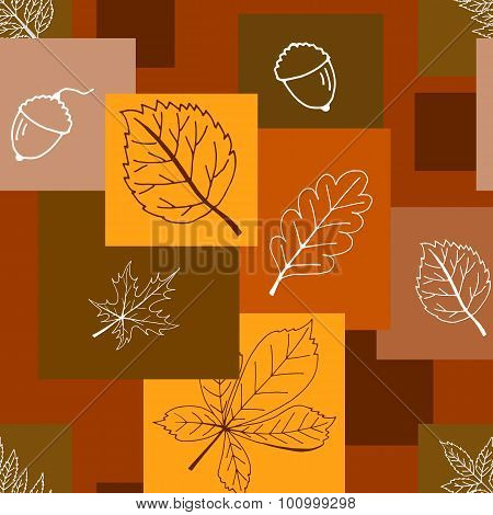 Seamless Brown Pattern Background With Autumn Leaves