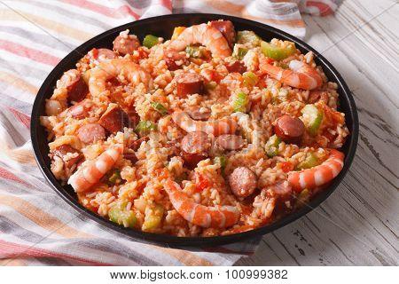 Nutritional Creole Jambalaya With Shrimp And Sausage Close-up