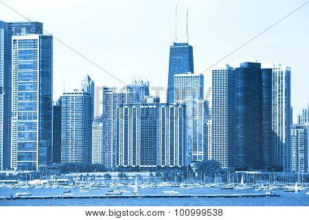 Skyscrapers in Chicago blue color tone