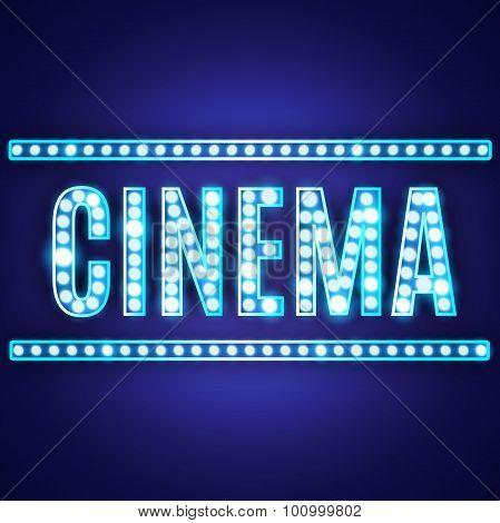 Blue Neon Lamp Cinema Sign