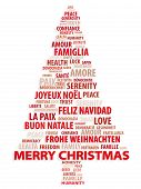 image of merry christmas text  - tree of words - JPG