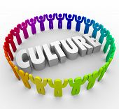 Постер, плакат: Culture 3d word surrounded by people sharing a common language values language and belief system a