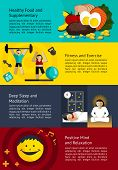 Постер, плакат: How To Create A Healthy Life Infographic Banner Template Layout Design Use For Man And Woman Healthc